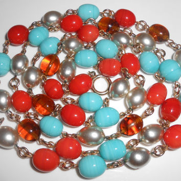 Art Deco Necklace Flapper Red Blue Art Glass Beads Silver Glass Pearls & Amber