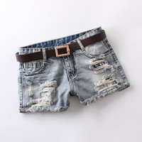 2016 summer jeans womens mid waist light blue hole printing shorts vintage bleached washed zip button 100% cotton denim shorts