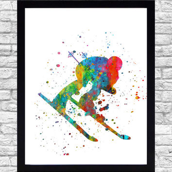 Wall Art Print Watercolor Printable Art, Skier Wall Art Download, Skiing Wall Decor, Skier Print, Watercolor Paint Splatter Art Winter sport