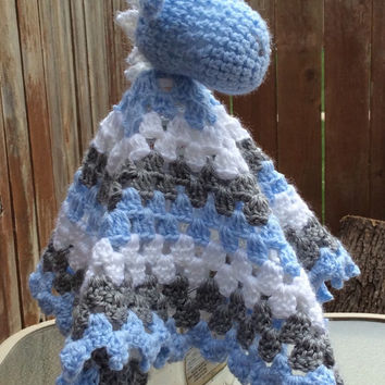 Crochet Soft Blue Dragon Snuggle/Lovey/Security/Sleep Blanket