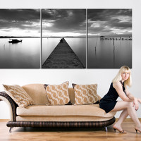 Extra Large Wall Art - Large Canvas Print Wood Pier, 3 Panel Canvas Print, Triptych Art Black and White Large Wall Art Print