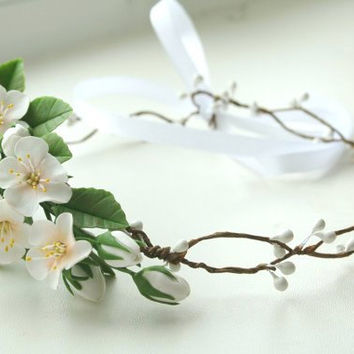 Bridal flower crown, Bridal crown, Wedding flower crown, Bridal flower headpiece, floral bridal headpiece, apple blossom flower crown