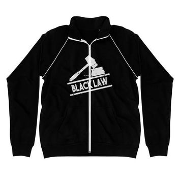 Black Law | Piped Fleece Jacket |  Lawyers Attorneys and Law Students