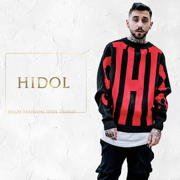 HIDOL Oversize Contrast Color Sweaters Loose O-neck Coats Gothic Hip Hop Swag Men Brand Clothing Kanye West BF Lovers Outerwear