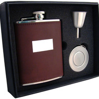 Visol Alcide 6oz Brown Leather Stellar Flask Gift Set