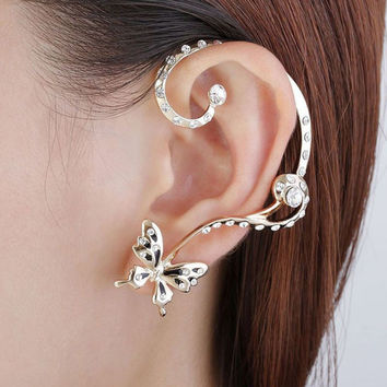 Korean Beautiful Butterfly Earrings Imitation Diamond Crystal Ear Clip Jewelry Cuff Ear Clip Wrap Earrings SM6