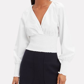 Smocked Poplin Long-Sleeved Blouse