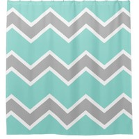 Aqua Blue Gray Grey Chevron Print Pattern Girl Shower Curtain