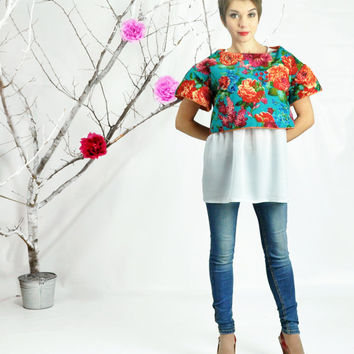 Structured Top, Double Face Quilting Top, Floral Top, Crop Top, Oversized Blouse, Two Side Boxy Top, Easy Top, Loose Fitting Top