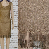 90s Cocktail dress Gold Lace Fringe Party Prom Grunge Hipster Boho Gypsy Disco Hippie Midi Sheer Plus Size 2X 18 20 Sleeveless Metallic 70s