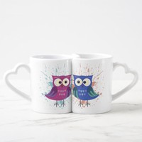 Lovers owls Valentine's Day Coffee Mug Set
