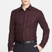 Men's Salvatore Ferragamo Extra Trim Fit Plaid Wool Shirt,