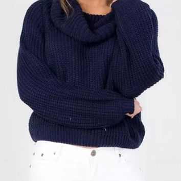 Navy Blue Plain Crop Polo Neck Fashion Pullover Sweater