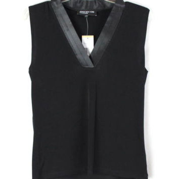 Jones New York Blouse S size New Jet Black Vneck Sleeveless Top Satin Neckline