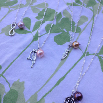 Choice of Charm with pearl - Charm Necklace with Magenta Pearl Bead - Anchor, Infinity, Rose, Bird, and more