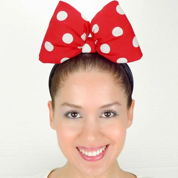 Big Minnie Mouse Bow Headband - Classic Red Polkadots