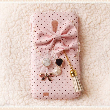 Diy Handmade Cloth Art Phone Case no.69e Pink dots and Tassel with Korean Style for Samsung Galaxy S2 Epic 4G Touch D710 S4 S3 Nexus Note 2