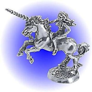 Unicorn and Maiden Pewter Figurine  Lead Free