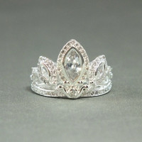 Silver Tiara Princess Ring Rapunzel Tangled Crown Crystals