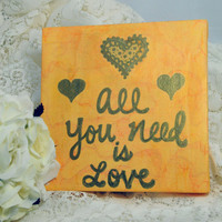 Love Quote Art, Heart Painting, Love Canvas, Reception Decoration, All You Need is Love, Small Wall Art, Home Decor, Gift Idea, Yellow Gold