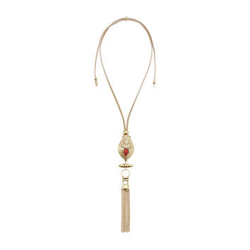 Lucky Brand Leather and Coral Long Necklace