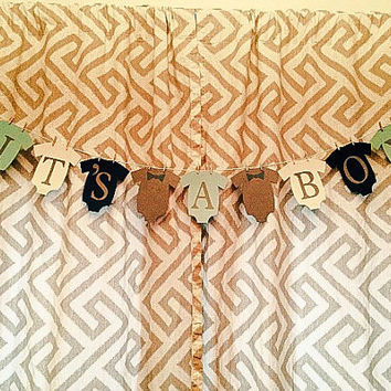 Baby Banner Its A Boy Baby Boy Shower Banner or Sign Rustic Vintage Bow Tie Onesuits Banner