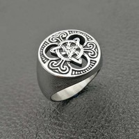 US 7 to 15 size European Ethnic Style Irish Concentric Knot Titanium Steel Rings Punk Rock Party Jewelry for Mens