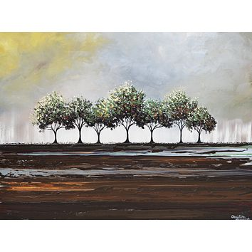 CUSTOM Art Abstract Painting Trees Green Textured Modern Palette Knife Tree Landscape Wall Decor Brown Grey MADE to ORDER -Christine