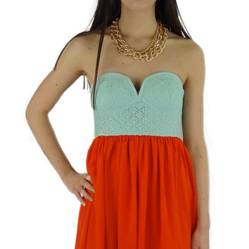 Strapless Eyelet Bustier Dress - Mint/Coral