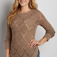 pullover sweater with open diamond stitching | maurices