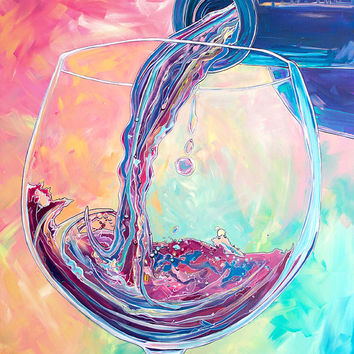 Pour Me Another-Giclee by Jen Callahan Canvas Wrap