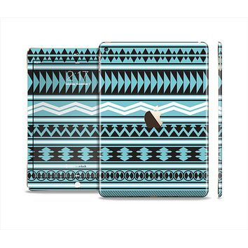 The Vector Blue & Black Aztec Pattern V2 Skin Set for the Apple iPad Air 2