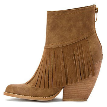 Very Volatile Womens Faux Leather Fringe Ankle Boots