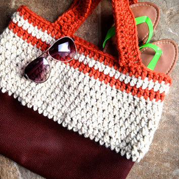 Beach Bag- Gotta have this Leather and Crochet Bag- Large- Ready for the beach or Lake- Unique Style- 17 in. x 14 in.