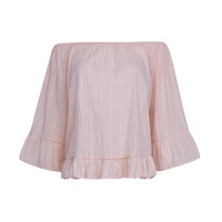 Pink Off Shoulder Flare Sleeve Cropped Peplum Top