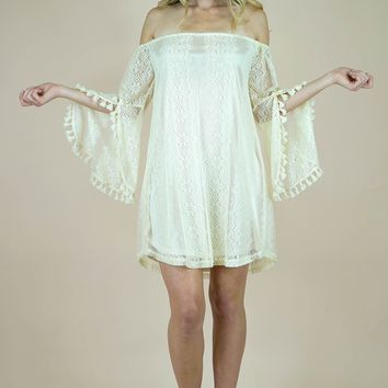 Umgee Off Shoulder Bell Sleeve Lace Dress