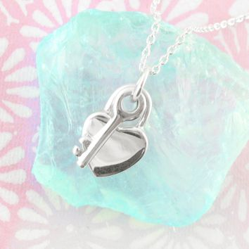 Smooth Heart Lock and Key Necklace in Sterling Silver