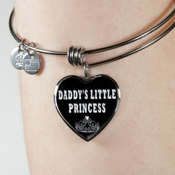 Daddy's little princess heart design bangle bracelet