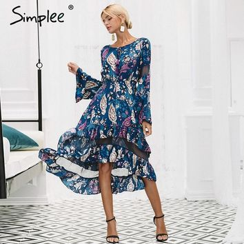 Simplee Ruffles print long dress women Mesh hollow out flare sleeve high waist dresses casual elegant dress