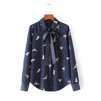 2018 cute bird print shirts chiffon bow tie neck long sleeve pleated blouses vintage loose ladies casual tops blusas feminina
