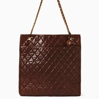 Vintage Chanel Quilted Brown Leather Tassel Tote