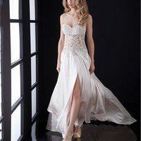 Sweetheart Column high slit open back white Long with Embroidery Prom Dress PD0819