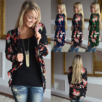 3XL Womens Fall Outwear Boho Printed Long Sleeve Cardigans Lady Casual Loose Coat Jumper Female Clothing