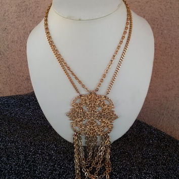Vintage 1960s Necklace Boho Bib Statement 16 Inches