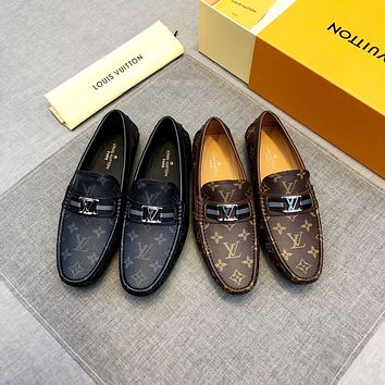 Custom Louis Vuitton Men's Penny Slip-On Leather Lined Loafer Luxury Men Shoes flats