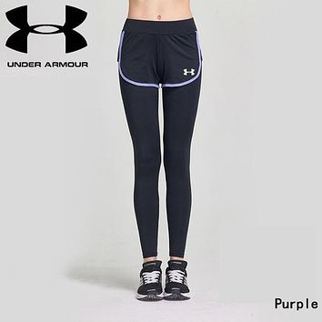 """Under Armour"" Fashionable Women Casual Sport Stretch Pants Fake Two Piece Yoga Running Trousers Sweatpants Purple"