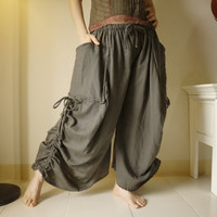 Love Me..Love Me Not II - Steampunk Greenish Charcoal Double Gauze Cotton Convertible Skirt Or Pants And 2 Roomy Pockets