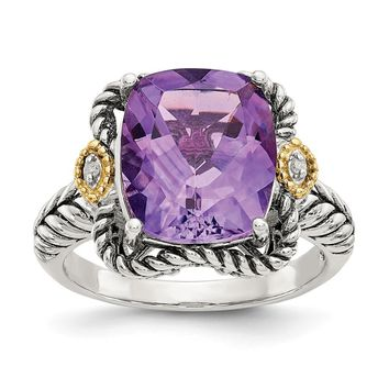 Sterling Silver Two Tone Silver And Gold Plated Sterling Silver w/Antiqued Amethyst and Diamond Ring