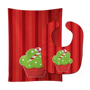 Christmas Cupcake Baby Bib & Burp Cloth BB6814STBU