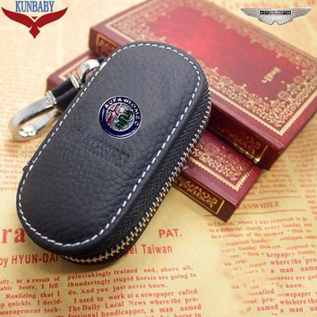 Arrival Men's Genuine Genuine Leather Bag Car Key Case Cover Wallets Fashion Women Housekeeper Holders Carteira For Alfa Romeo